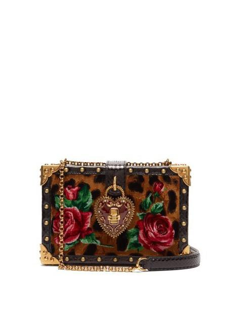 Dolce & Gabbana - Leopard Print My Heart Velvet Box Clutch Bag - Womens - Leopard