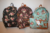 bag,backpack,floral,flowers,brown bag,black bag,pink bag,orange bag,blue bag,floral backpack
