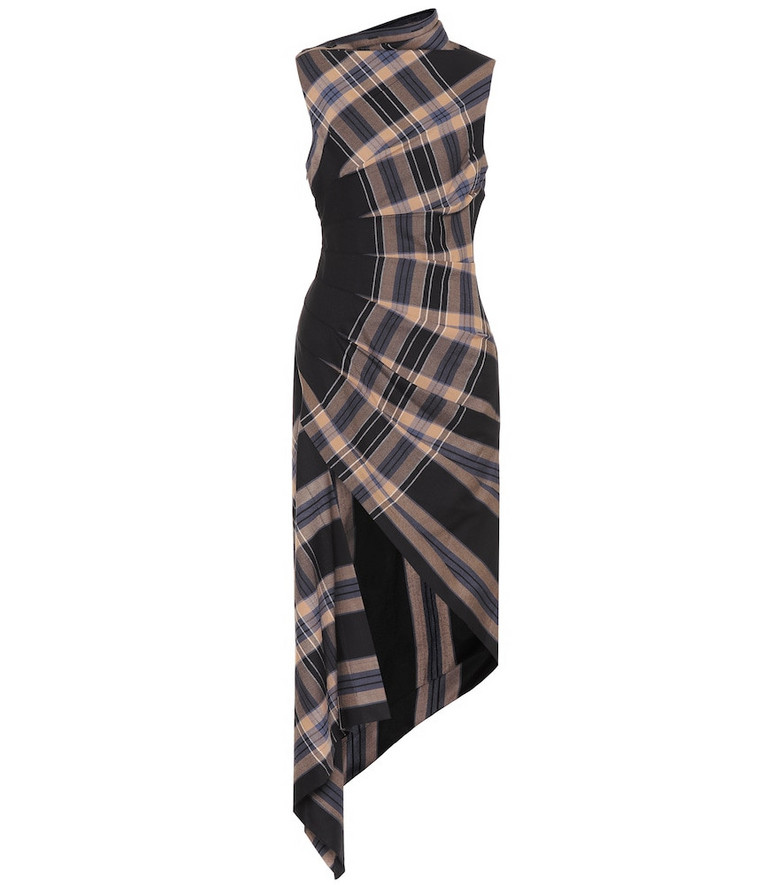 Monse Checked stretch-twill dress in black