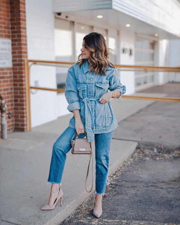 jacket denim jacket oversized jacket straight jeans cropped jeans pumps bag