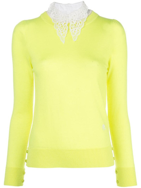 Adam Lippes lace collar jumper in yellow