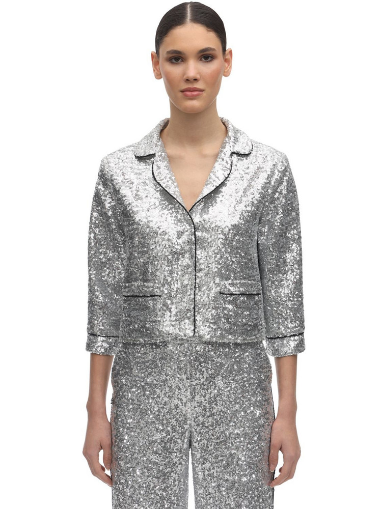 IN THE MOOD FOR LOVE Sequined Crop Pajama Top in silver