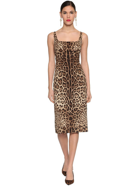 DOLCE & GABBANA Printed Silk Charmeuse Midi Dress in leopard