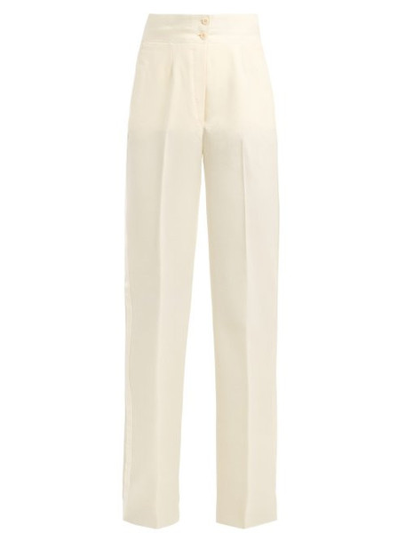 Giuliva Heritage Collection - Dorothea High Rise Wool Twill Smoking Trousers - Womens - Ivory