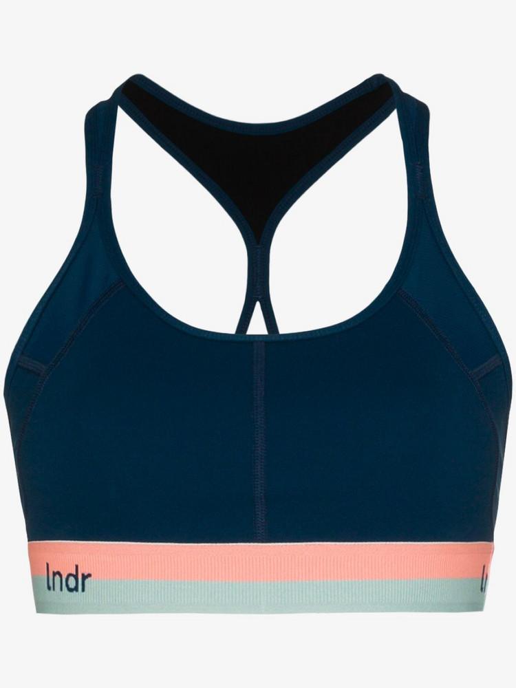 LNDR contrast waistband sports bra in blue