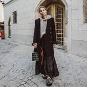 skirt,maxi skirt,asymmetrical skirt,ankle boots,fendi,bucket bag,grey bag,furry bag,black coat,h&m,sweater