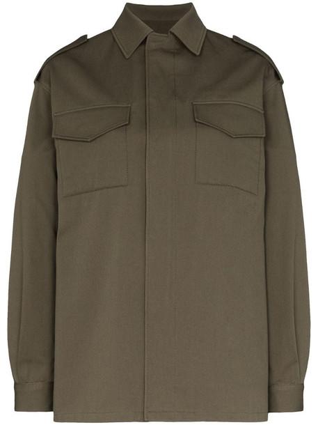 Valentino VLOGO stitched shirt jacket in green