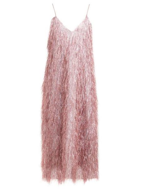 Raey - V Neck Tinsel Midi Slip Dress - Womens - Pink