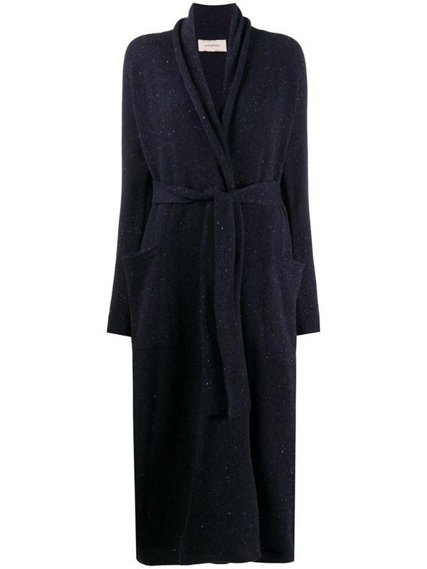 Gentry Portofino belted long cardi-coat in blue