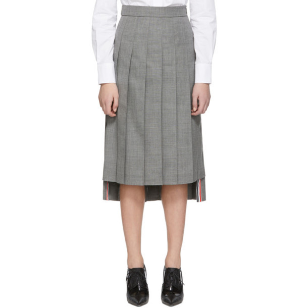 Thom Browne Grey Dropped Back Pleated Skirt