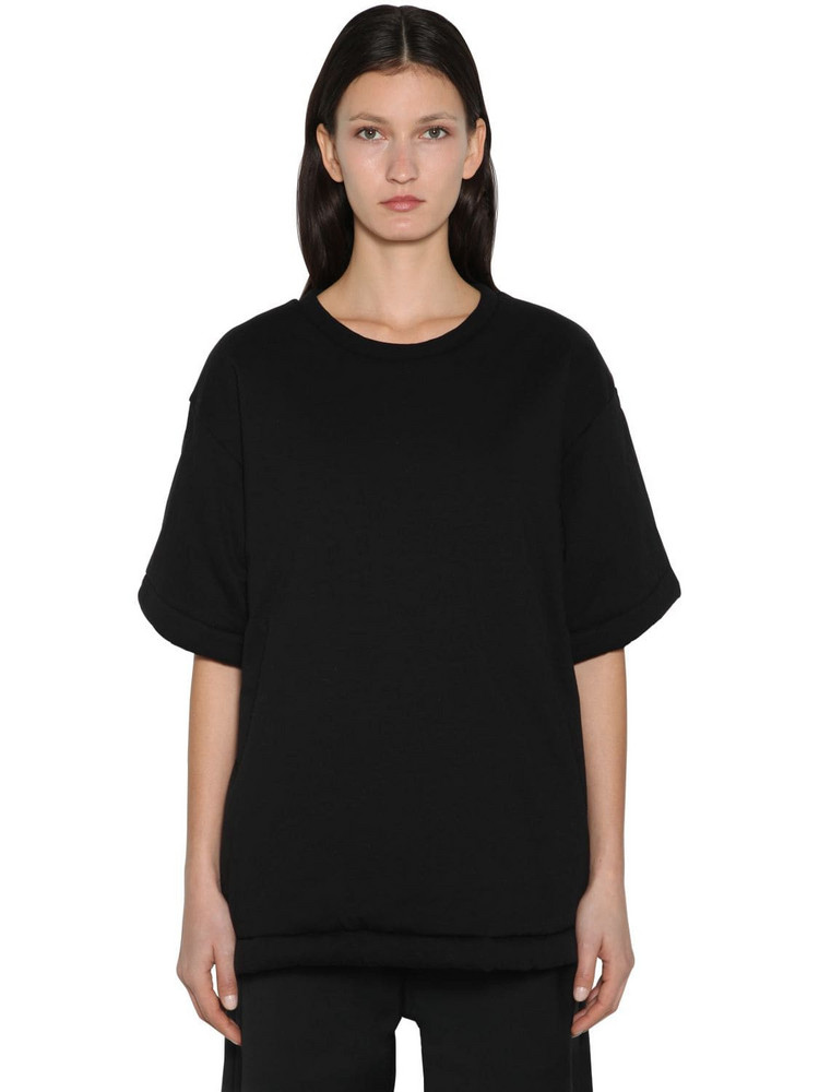 MM6 MAISON MARGIELA Padded Oversized Cotton & Satin T-shirt in black