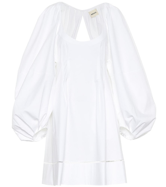Khaite Madison cotton twill dress in white