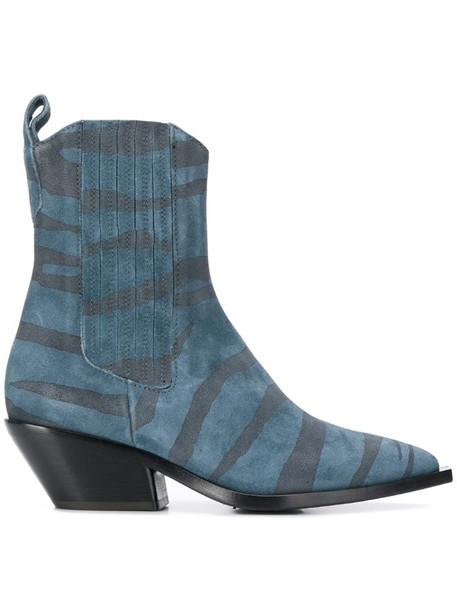 A.F.Vandevorst animal-print boots in blue