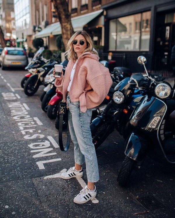 shoes adidas shoes white sneakers high waisted jeans straight jeans shearling jacket topshop white t-shirt black bag