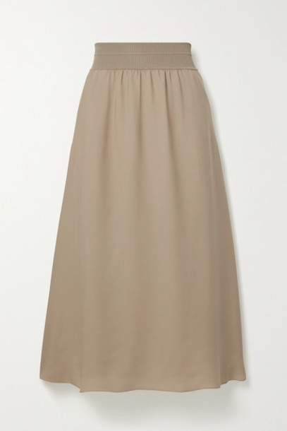 Theory - Stretch Jersey-trimmed Silk-crepe Midi Skirt - Beige