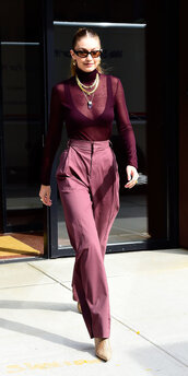 sweater,monochrome,monochrome outfit,bra,bralette,burgundy,burgundy sweater,pants,gigi hadid,model off-duty,sheer