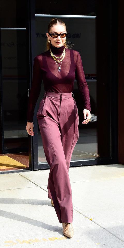 sweater monochrome monochrome outfit bra bralette burgundy burgundy sweater pants gigi hadid model off-duty sheer