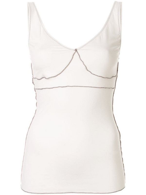Ruban stitch detail top in white
