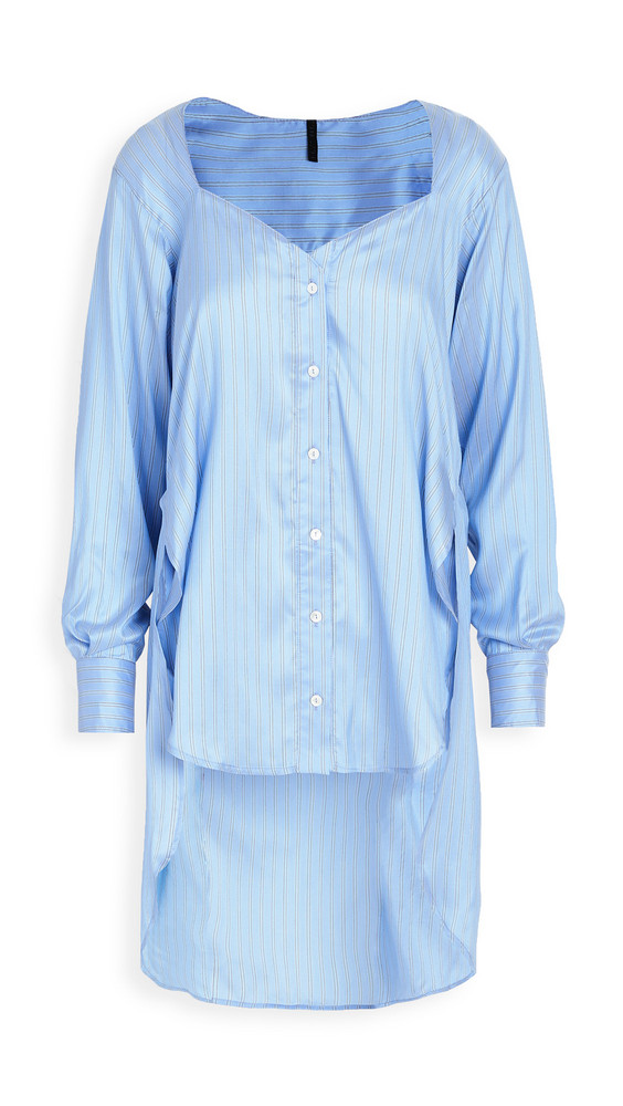 Unravel Project Heart Shaped Neckline Shirt in blue