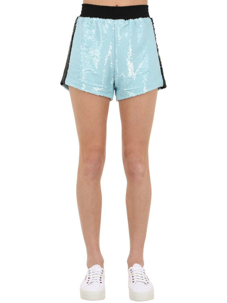 CHIARA FERRAGNI Sequined Shorts W/side Bands in blue