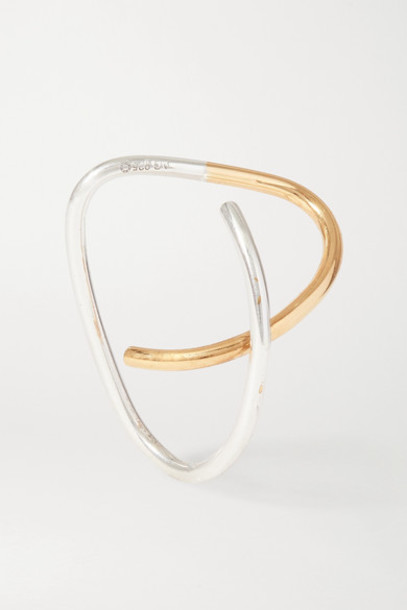 Saskia Diez - Net Sustain Cross Gold And Silver Ear Cuff