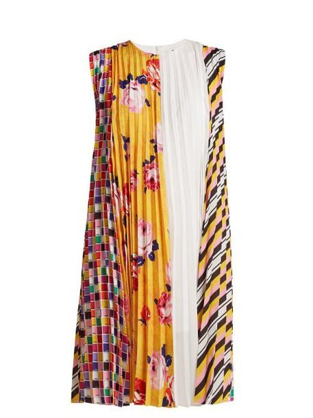 Msgm - Printed Pleated Crepe Dress - Womens - Yellow Multi
