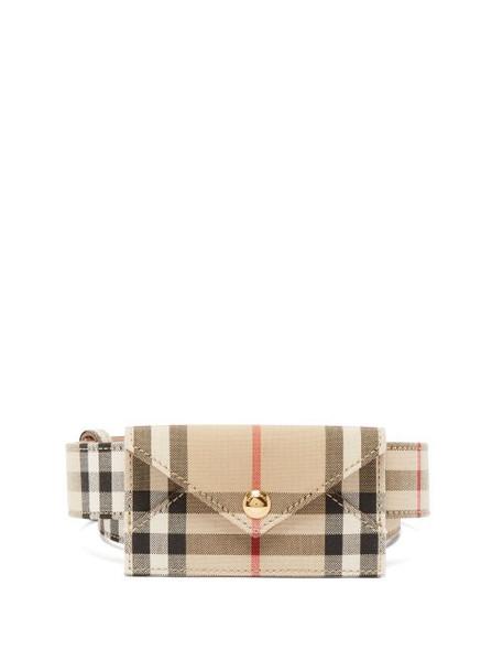 Burberry - Checked Gabardine And Leather Cardholder Belt - Womens - Beige Print