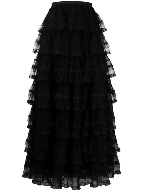 RedValentino tulle tiered skirt in black
