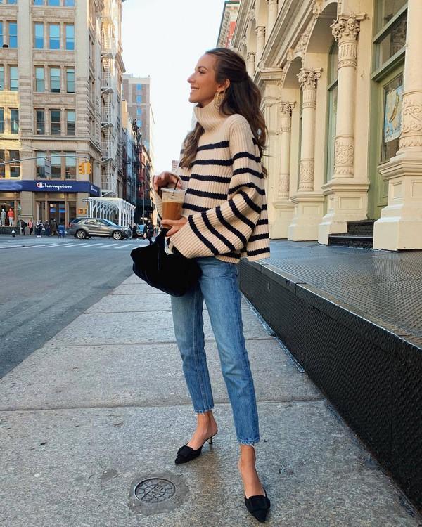 sweater turtleneck sweater oversized sweater mules straight jeans black bag handbag