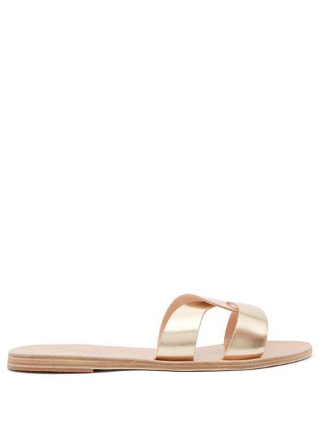 Ancient Greek Sandals - Desmos Vachetta Leather Slides - Womens - Gold