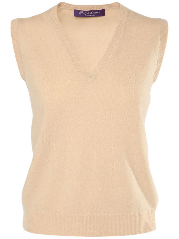 RALPH LAUREN COLLECTION Cashmere Knit V Neck Vest in beige