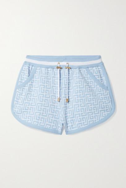 BALMAIN - Jacquard-knit Wool-blend Shorts - Blue