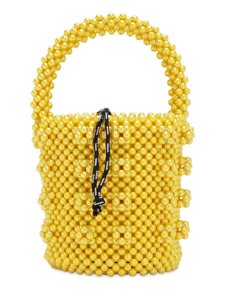 SHRIMPS Poppy Beaded Top Handle Bag in yellow