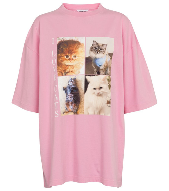 Balenciaga Cat-print oversized cotton T-shirt in pink