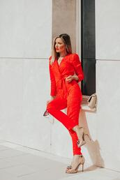 mi aventura con la moda,blogger,jumpsuit,shoes,bag,jewels,high heels,red jumpsuits,spring outfits
