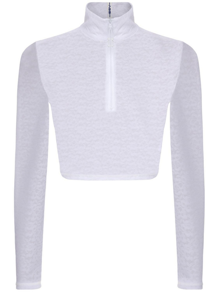 ADAM SELMAN SPORT Zip-up L/s Crop Top in white