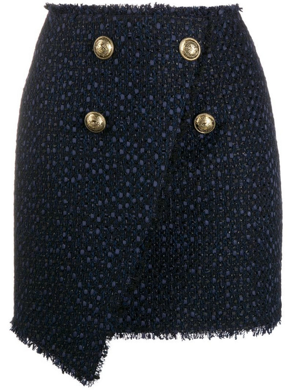 Balmain asymmetric wraparound tweed skirt in blue
