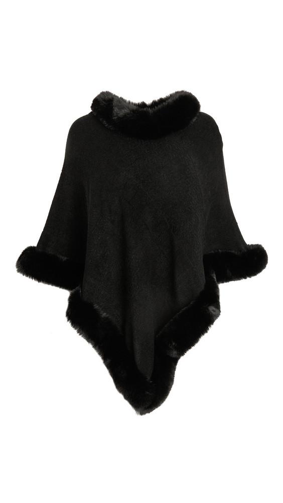Adrienne Landau Faux Fur Knit Cape in black