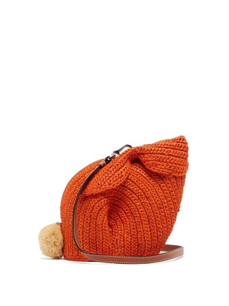 Loewe - Bunny Mini Raffia Cross Body Bag - Womens - Orange