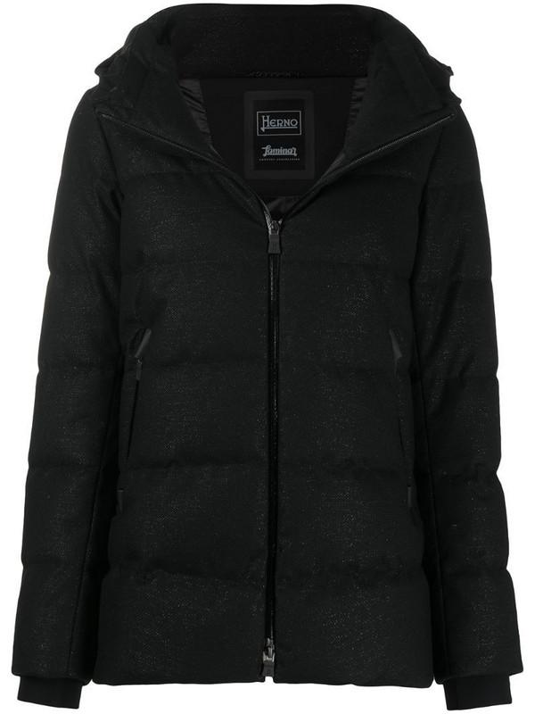 Herno metallic-effect puffer jacket in black
