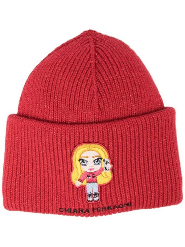 Chiara Ferragni Chiara ribbed-knit beanie in red