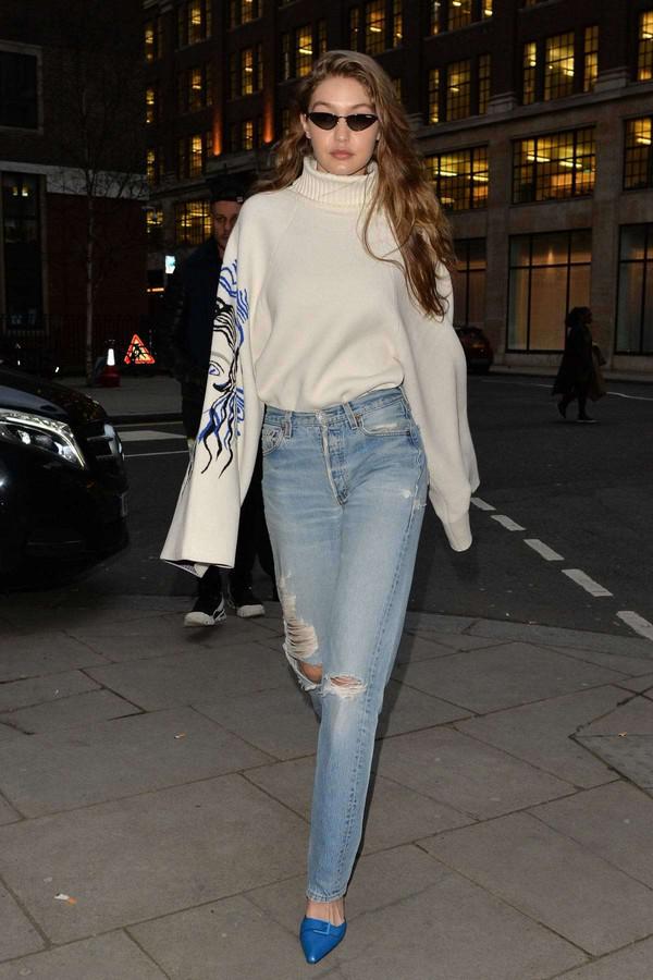 shoes denim jeans mules gigi hadid model off-duty streetstyle oversized sweater turtleneck sweater