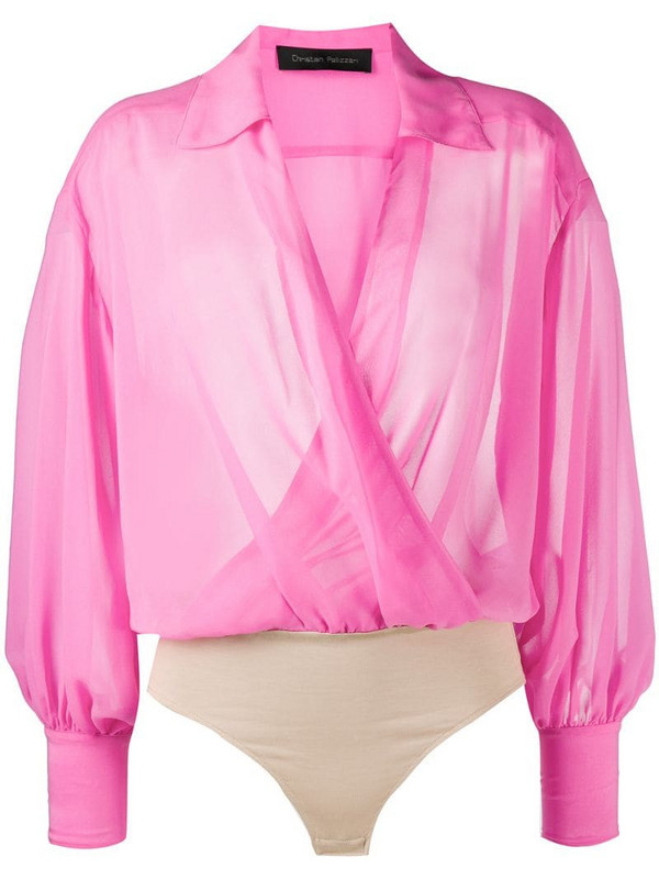 Christian Pellizzari draped wrap front blouse in pink