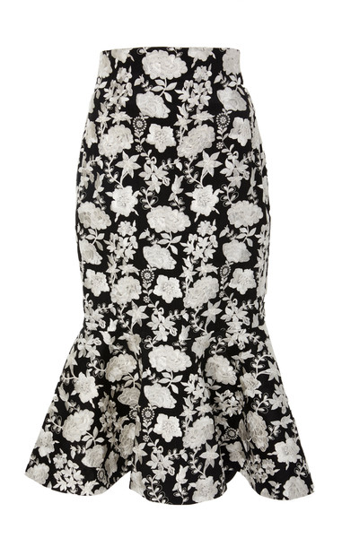 Alexis Reece Flare Pencil Skirt in black / white