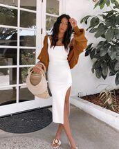 dress,white dress,slit dress,fluffy nike slides,bag,cardigan