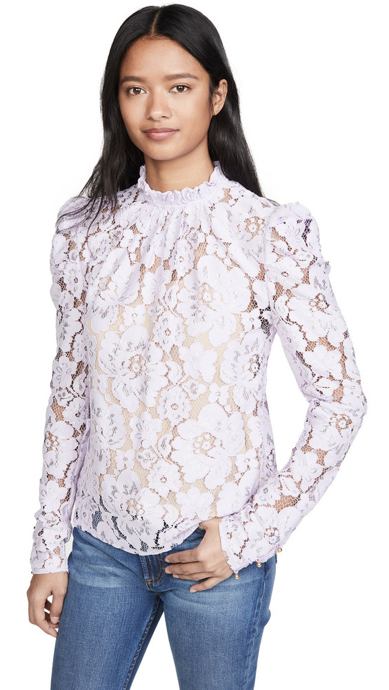 WAYF Emma Puff Sleeve Lace Top in lavender