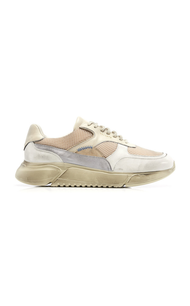 Axel Arigato Genesis Distressed Rubber Leather And Mesh Sneakers in neutral