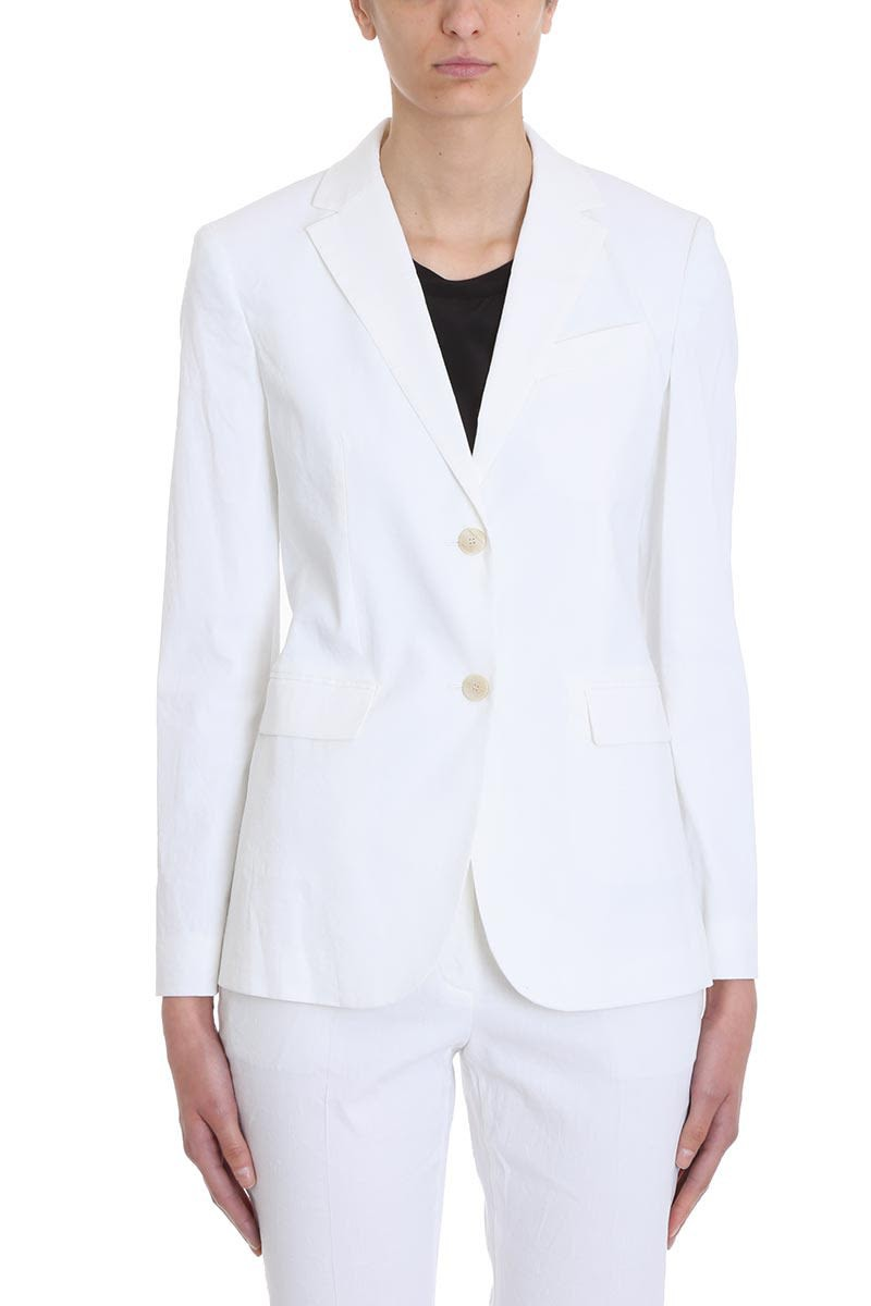 Theory Cotton And Linen Classic Blazer in white