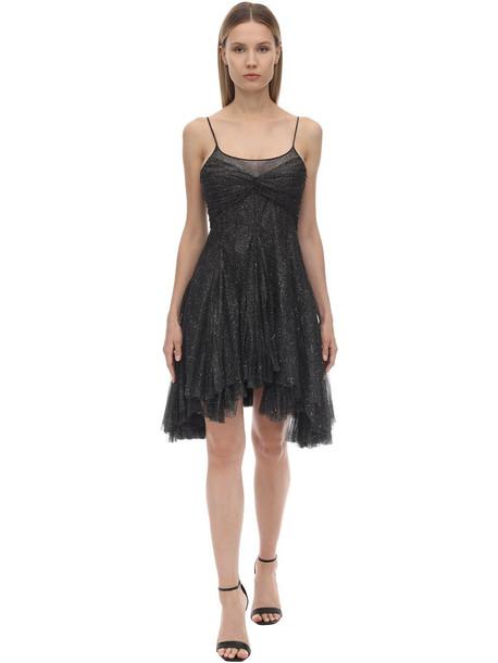 PHILOSOPHY DI LORENZO SERAFINI Glittered Tulle Mini Dress in black