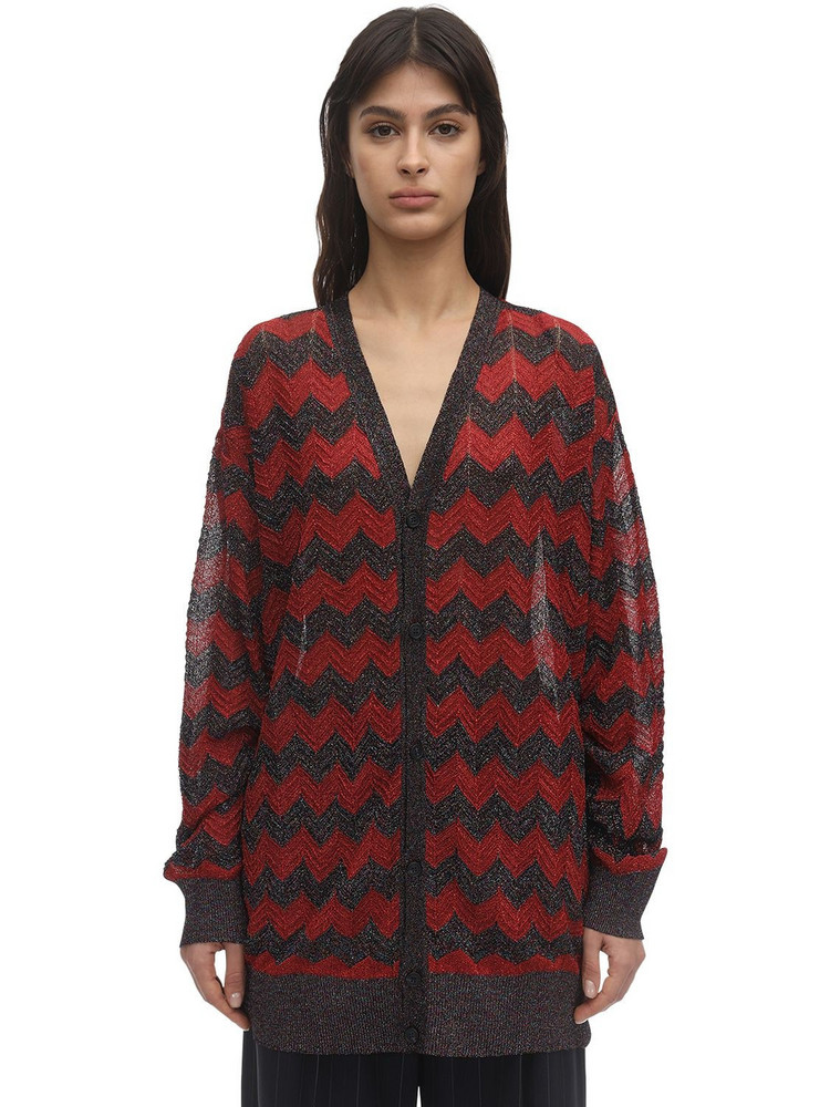 M MISSONI Zig Zag Lurex Knit Cardigan in red